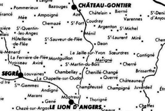 Cherré, carte des anciennes paroisses de lAnjou