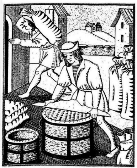 Le radeur mesurant le sel (daprès une gravure sur bois 15e siècle (J. Favier Paris au 15e, Paris 1974, p274)