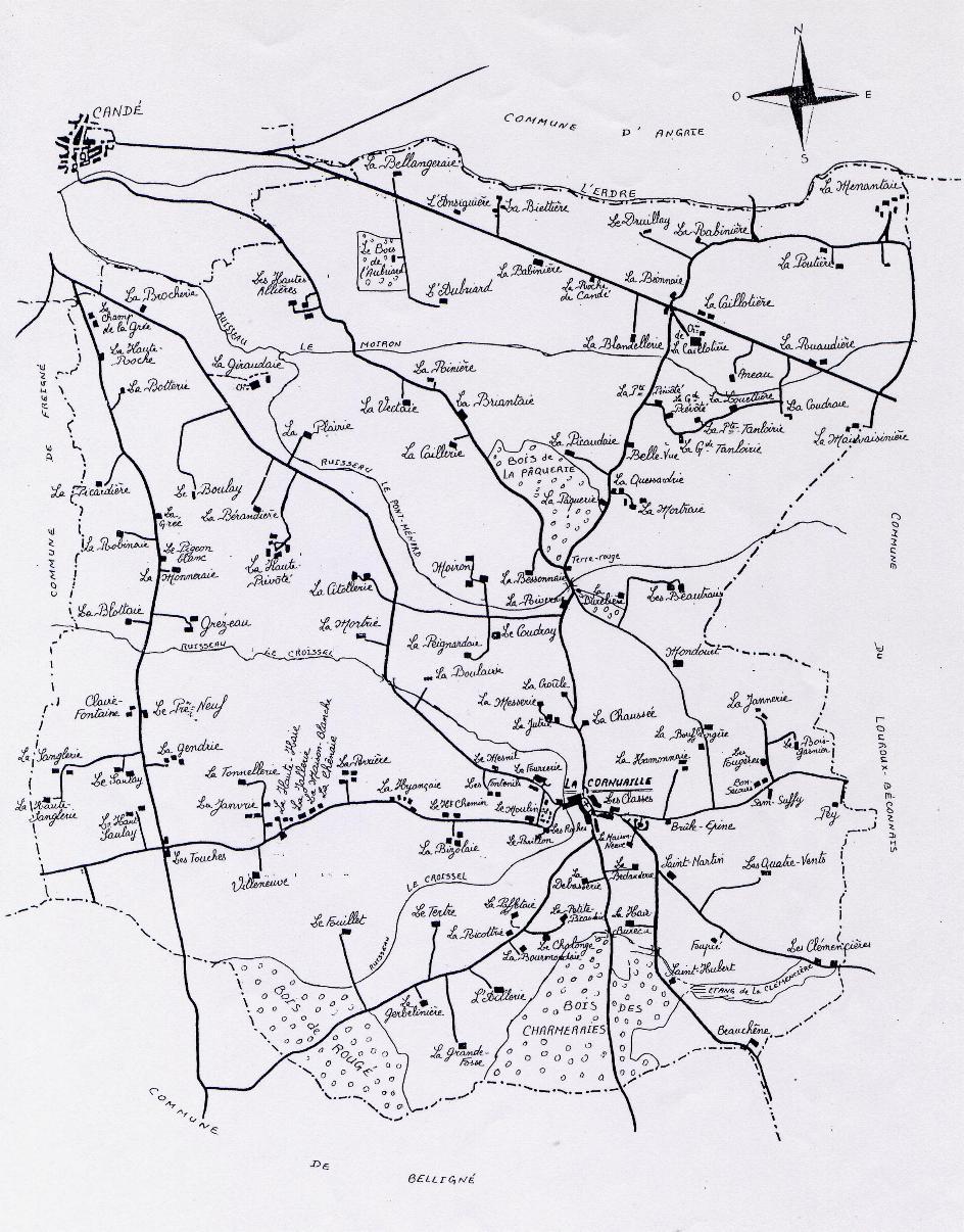 La Cornuaille, carte actuelle des noms de lieu, cliquez pour agrandir