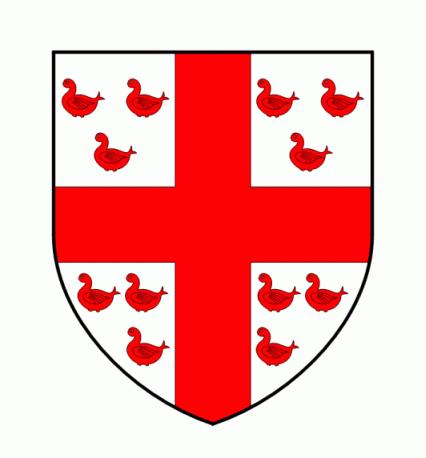 AUVÉ : D'argent à une croix pleine de gueules cantonnée de douze merlettes ou colombes de même, trois à chaque canton.