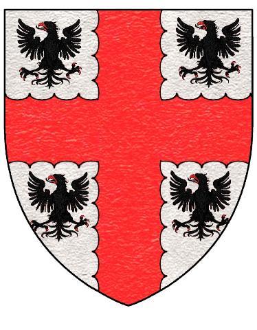 LE CLERC de Juigné, de Sautré, des Aulnais, etc. : D'argent, à la croix engrêlée de gueules, cantonnée de quatre aigles de sable becquées et onglées de gueules.